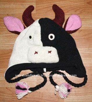 Nepal Woolen Dairy Cattle Pattern Adult Knitted Cute Animal Hats