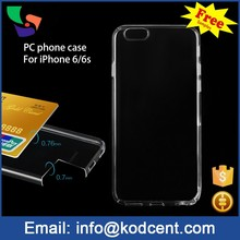 Mobile phone accessories hard material transparent pc case for iphone 6 6s cell phone