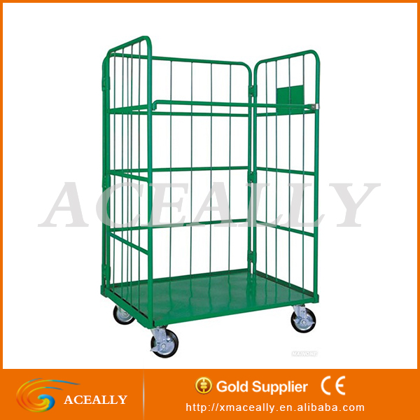 2/4 doors 4 wheels folding material handling vehicle food storage containers