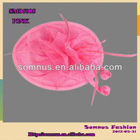 Somnus Fashion Ladies' Pink Sinamay hair Accessory Handmade Hair Fascinator,Wholesale Price Small Quantity Available