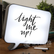 Writing message led light box,black shell message light up lightbox, speech bubble lightbox