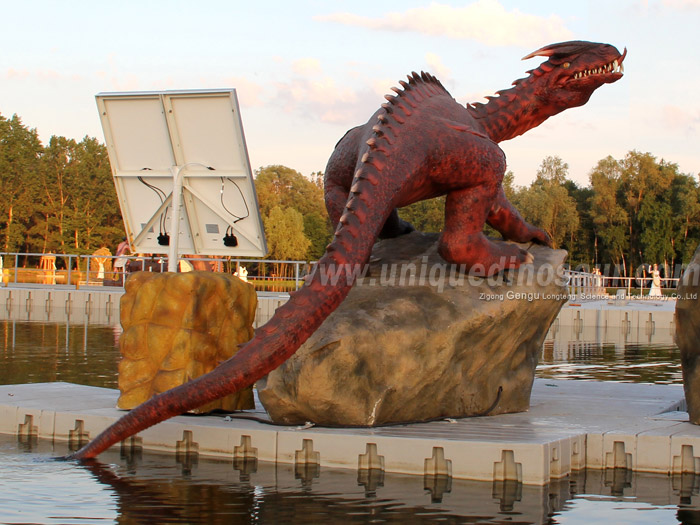 Theme Park Fiberglass Decoration Life Size Dragon Statues