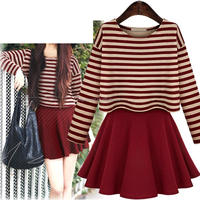 European striped blouse two-piece dress flounced skirt suit for ladies in plus size S/M/L/XL