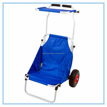 lightweight aluminium blue and red portable folding beach trolley