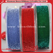 Gold Frosted Glitter Elastic Ribbon Velvet Glitter Elastic green/red/blue