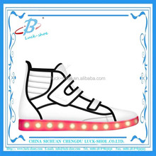 Popular led usb charge skate shoe light weight velcro unisex shoe
