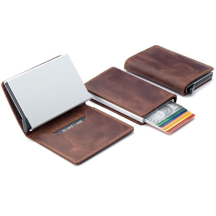Man's smart rfid blocking magic aluminum wallet with genuine leather cover