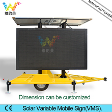 Portable Customized Trailer Variable Mobile Sign VMS Traffic Message Board Screen Energy Saving P20 P16 Display Module