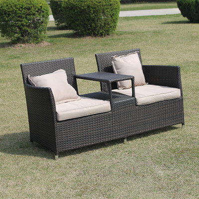 PE rattan/wicker two seat outdoor leisure furniture