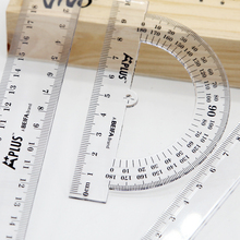 High quality hot selling OEM 20cm plastic transparent straight triangle protractor promotiona ruler set