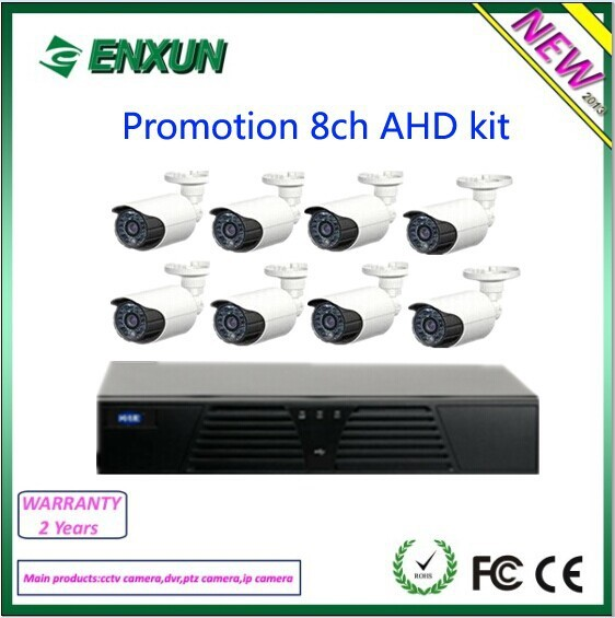 economic real time 1.0mp bullet surveillance camera 8ch ahd dvr kit
