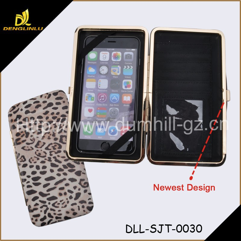 2015 New Fashion Metal Frame Leopard Mobile Phone Case With Credit Card Holders