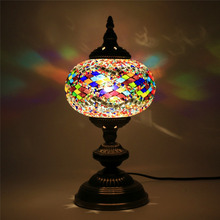 2018 New Design home decorative (TC1L01-2) glass Handmade Mosaic table Turkish Lamp glass table lamp
