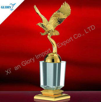Golden eagle metal awards with crystal base