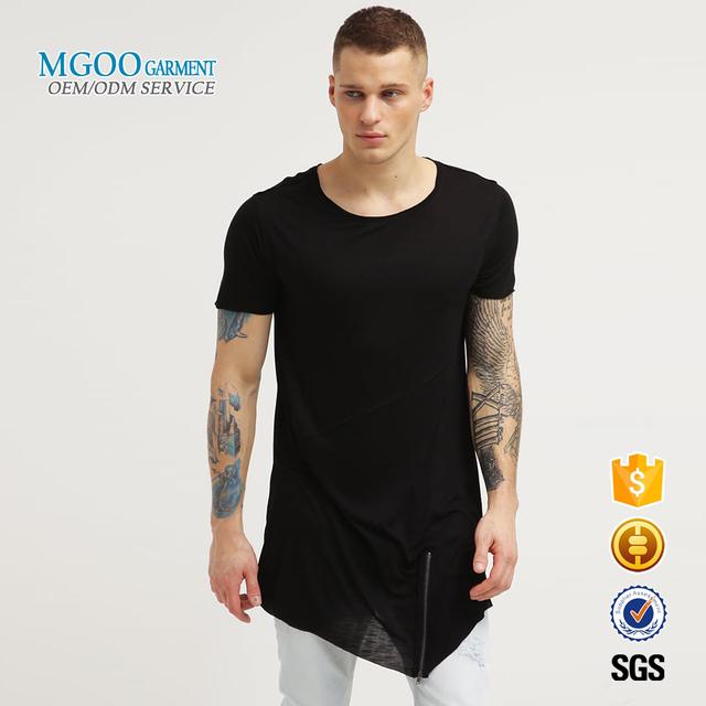 Custom men t shirt with side zipper Irregular hem black t shirts wholesale Longline bamboo t shirt cheap
