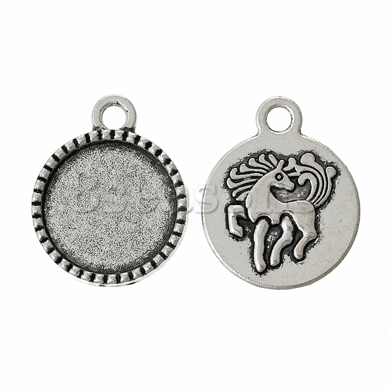 Cheap Charm Pendants Round Antique Silver Cabochon Setting Nickel Free Horse Carved 21mm x 17mm,100PCs