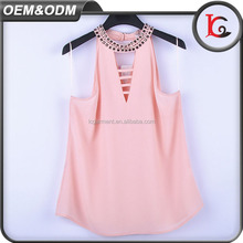 Top quality Hot sale handwork beaded lady tops can be customized