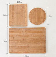 bamboo cutting board chopping block roll and square fruit vegetable and meat 3-pieces set