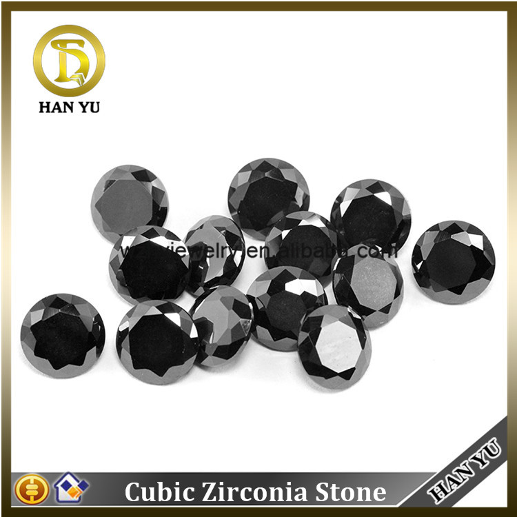 Wuzhou Diamond Cut Round Synthetic Black Cubic ZIrconia