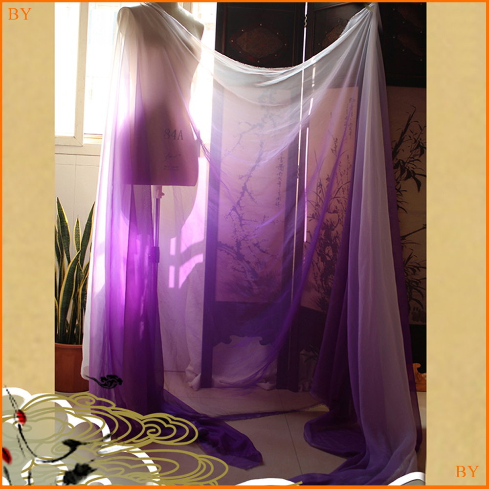 Warm Fuchsia White 2 Tone Wedding Dancing Dress Cloth Telas Light Weight Ombre Chiffon <strong>Material</strong> Sheer