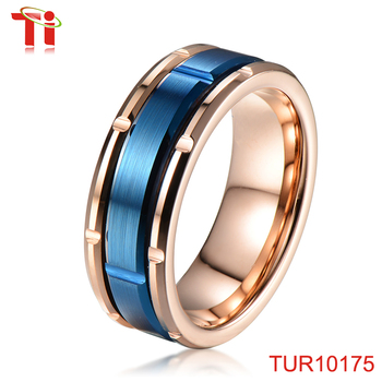 Matt & cross tungsten carbide ring with IP 24k gold rose rose gold engagement rings rose gold jewellery