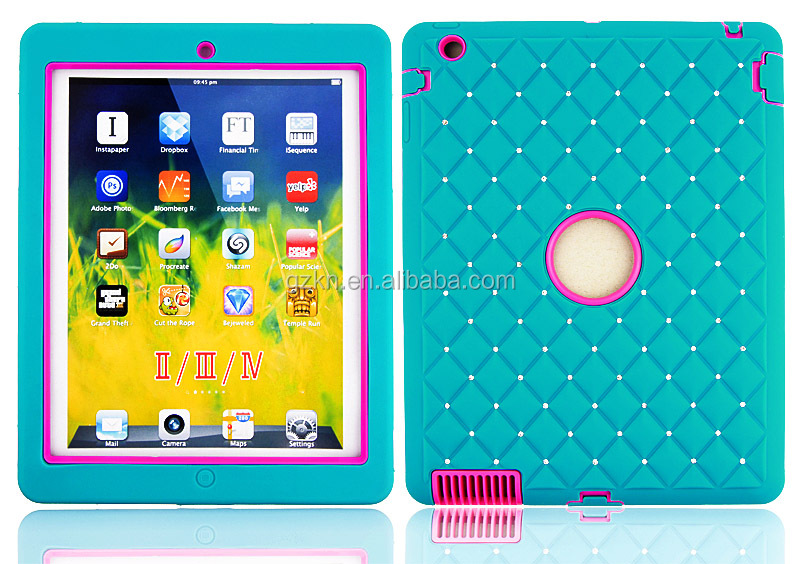 Triple defender diamond protective hybrid case for iPad 3 4 drop reisitant tab cover