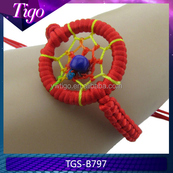 Fashion braided Indian style dream catcher bracelet