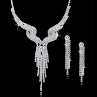 Fashion long tassels bride wedding jewelry set crystal rhinestone necklace earring sets for party