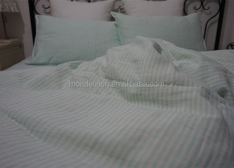 100% pure stripe linen bed set bed sheet duvet cover pillowcase cushion cover