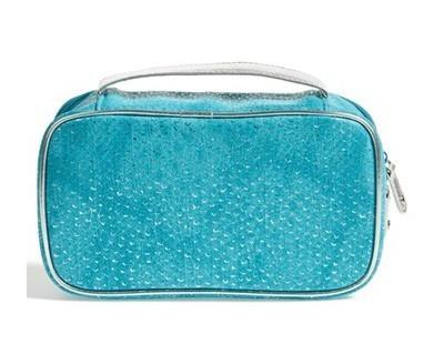 Blue PU Leather Laser Cut Makeup Bag