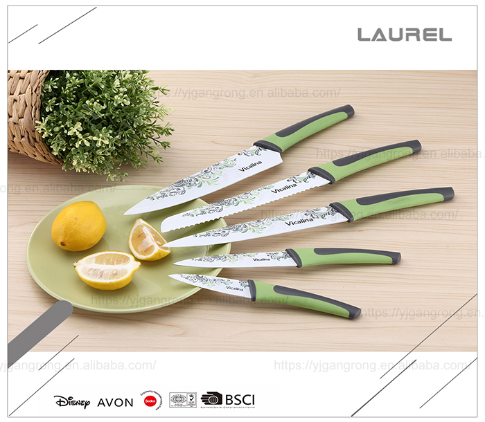 Fashion design knives with printing blade beautiful kitchen knife set