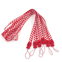 Red White Check Jacquard Keychain Neck Strap Lanyard String