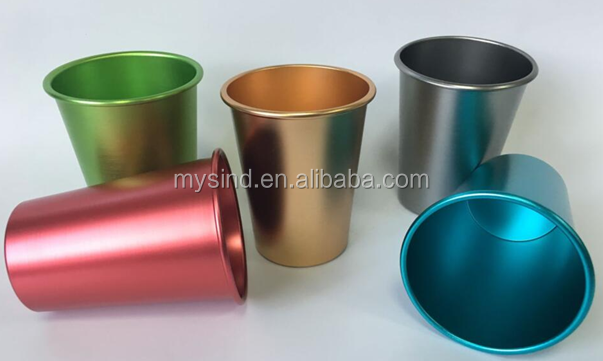 Aluminum beer cup with colorful surface, Turned edge tumbler, Aluminum drinking mug