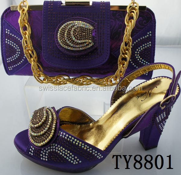 Purple high quality evening shoes with matching bags with rhinestones