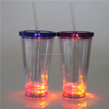 party supply LED plastic water bottle with lid and straw, straw cup china factory