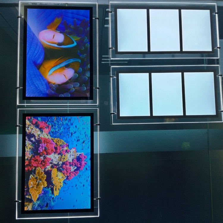 Hanging Acrylic Poster Frames Illuminated <strong>LED</strong> Crystal Light Box Real Estate Backlit Shenzhen <strong>LED</strong> Window Display