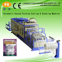 Fully automatic plastic take away foam food container and hamburger box vacuum forming production line