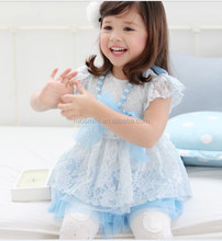 S30209W GIRLS FASHION WHITE LACE KNEE LENGHT DRESS WITH NECKLACE LACE EMBRIODERED DREAMING DRESS