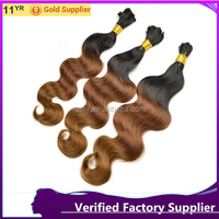 Best selling remy two tone color indian hair bulk