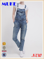 Wholesale Lovely Slim Fit Custom Made Denim New Style Fashion Denim Jumpsuit Women Ripped Overalls Jeans Panst -Dungaress Pants