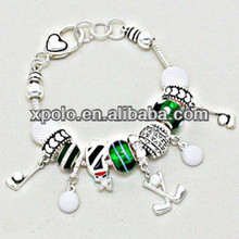 European sports theme golf balls and golf bats charm bracelet with anti-silver plated/golf chamilia beads beaded charm bracelet
