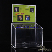 Cheap price acrylic material clear charity box/donation box with lock ST-DBA4CLH