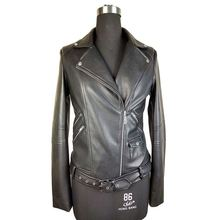 Attractive style women coat OEM design printed black leather jackets with zipper