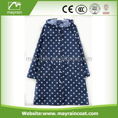 fashion women long polyester spot ladies raincoat