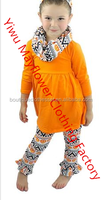 Hot sale girls halloween set boutique baby pumpkin outfit toddler cotton 3pcs halloween outfit