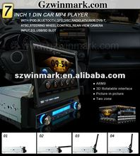 digital touch screen 7inch 800*480 pixes 1 din car dvd with GPS,3D UI,PIP,Bluetooth and IPOD