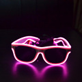white Frame Pink sound activated flashing Glow EL glasses
