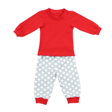 Kaiyo popular boutique long sleeve pajamas solid shirts &dot/stripe pants wholesale children's boutique clothing