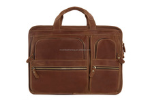Large Functional Genuine Leather Laptop Briefcase