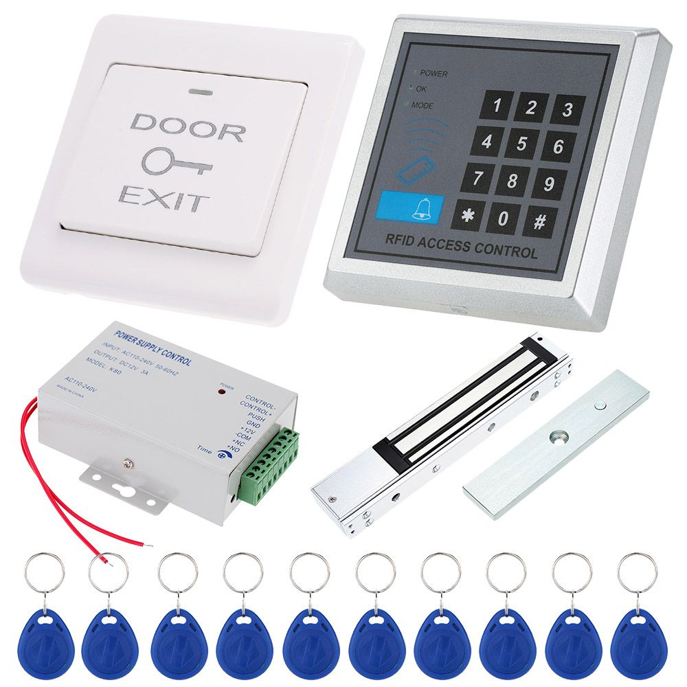 DIY Access Control 125KHz Rfid Keypad Access Control System Kit + Electronic Magnetic Door Lock + Power Supply + 10pcs Keys